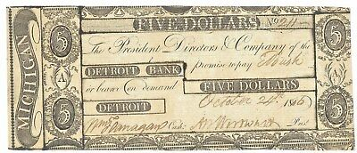 Pristine, Scarce 1806 Detroit Bank Obsolete Note – Judge Woodward's Famous Fraud