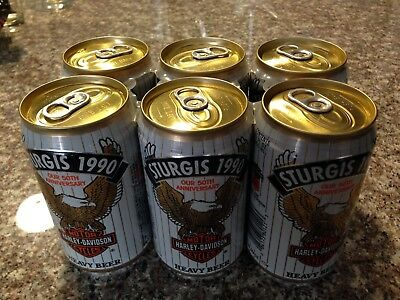 Sturgis 1990 Harley Davidson Heavy Beer - 6 Pack Empty Drained From Bottom Cans