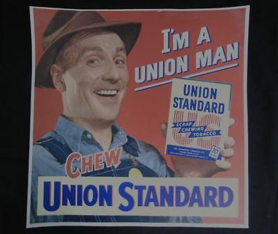 Original Vintage Union Standard Chewing Tobacco Paper Store Advertisement Litho