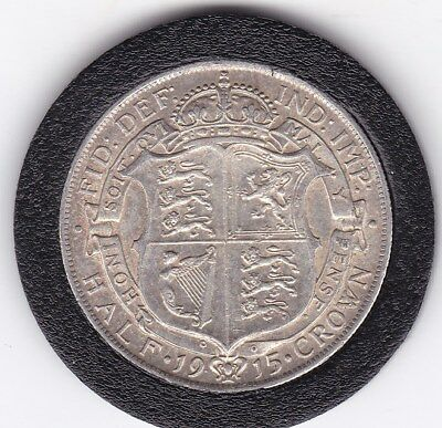 Sharp  1915   King  George V  Half  Crown  (2/6d) -  Silver  (92.5%)  Coin