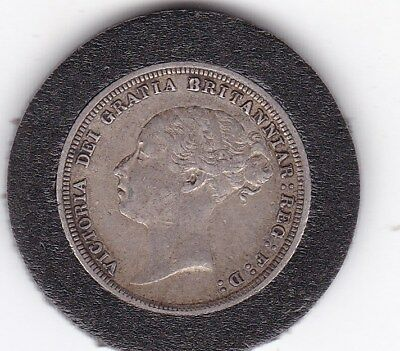 Sharp  1883  Jubilee   Head   Sixpence  (6d)  Silver  (92.5%)   Coin