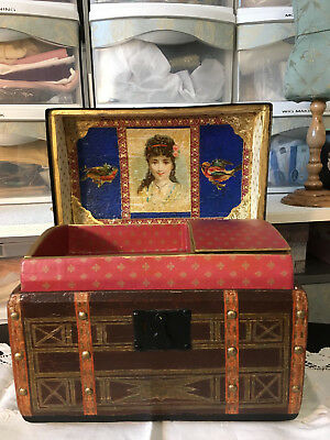 Antique French Fashion size Doll Trunk