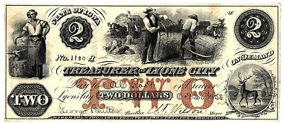 Unlisted $2 Obsolete Note, Treasurer Of Lyons City, Iowa, 1859