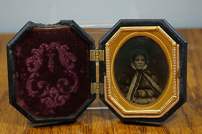 """Antique Ambortype of Young Girl in Fur Coat Well Dress  1/9 Plate - 2"""" x 2 ½"""""""