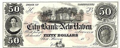 City Bank Of New Haven, $50 Obsolete, From The American Bank Note Company