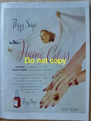 Peggy Sage Red Nail Polish Flying Colors 1946 Ad - Vernis à ongles Pub d'époque