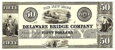 Beautiful $50 Obsolete Note From The New Hope Delaware Bridge Company