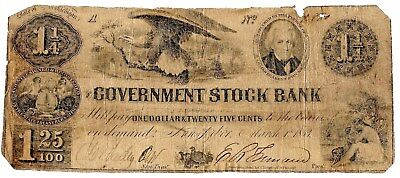 Extremely Rare Odd Denomination Note, $1.25 Government Stock Bank, Mi