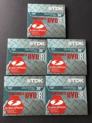 TDK Camcorder Disks DVD-R14A DVD-R 1.4 GB 30 Min Lot Of 5 New Sealed