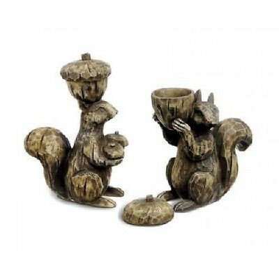 Set Squirrel Tea Light Holder Figurine Statue Garden Yard Art