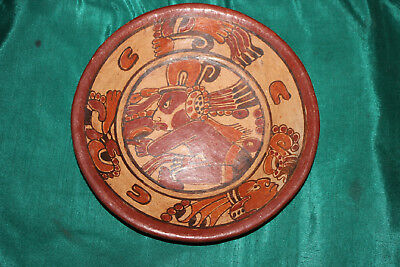 Mayan Columbian Peruvian Hand Painted Bowl Plate Wall Plaque-Tribal Faces