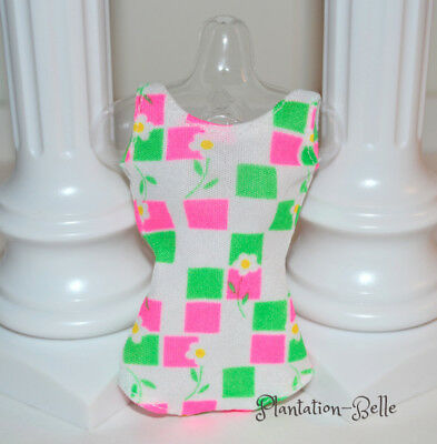 Francie Vintage Reproduction Swimsuit / Bathing Suit ~ Pink Green White Fashion