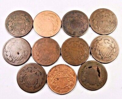 (11) Mixed Date Two Cent Piece (2 Cent) Lot // 11 Coins // WITH DATES! (TCL62)