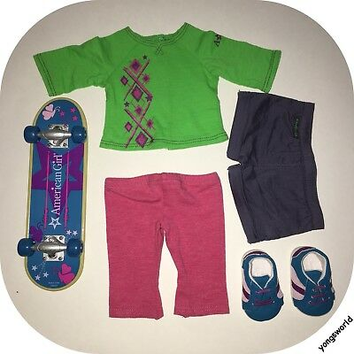 Pleasant Company American Girl 2011 Skateboard Set Outfit Shoes Lot