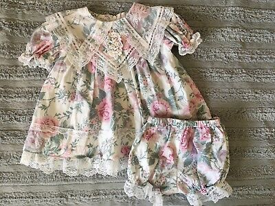 Vintage Jessica McClintock Gunne Sax Baby Girl Pink Roses Lace Collar Dress