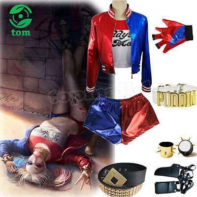 UK Girl Kid Adult Cosplay Harley Quinn Suicide Squad Costume Fancy Dress Outfit