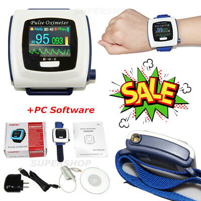 Wrist Fingertip Pulse Oximeter SpO2 PR Sleep Study Monitor+PC Software CE CMS50F