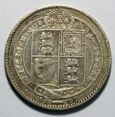1887 UK Great Britain Sterling Silver Shilling KM# 761 - S. 3926