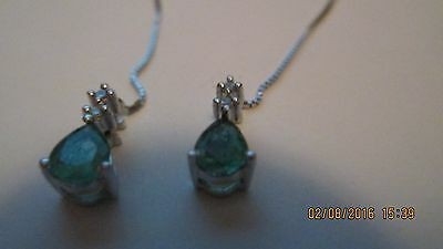 14K White Gold Emerald and Diamond Threader Earrings - New!