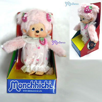 Japan Sekiguchi Monchhichi 20cm S Size Plush MCC Doll Strawberry Pink