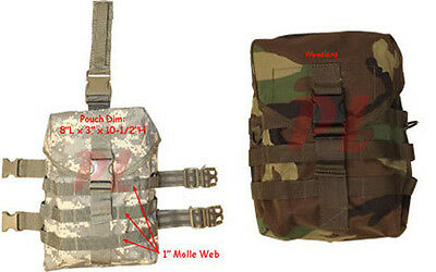 Molle Tactical GAS MASK POUCH Pocket UTILITY Carrier Drop Leg Hip Rig Woodland