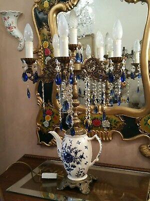 Vintage Brass and Crystal  and Ceramic Table Lamp.  Teapot