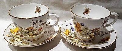 Ridgway Potteries Royal Imperial Golden Wedding Anniversary Cups Saucers 1962-64