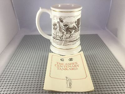 """Franklin Porcelain """"The Ashes"""" Large Centenary Tankard Cricket Theme"""