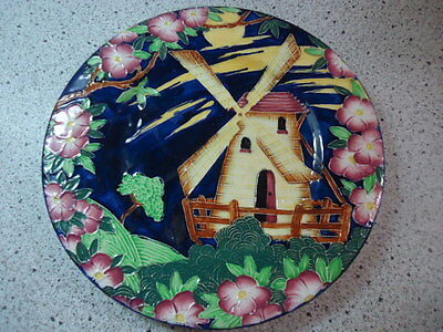 Antique Majolica Plate blue wind mill floral ENGLAND (#b52