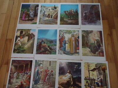 "12 Vintage Religious Lithographs Providence Lithograph  Lot Posters 17"" X 12"""
