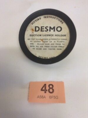 Vintage DESMO White Plastic Suction Type Tax Disc Holder