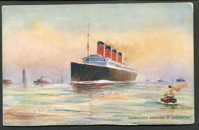 C1912 Col Pc Cunarder Arriving At Liverpool