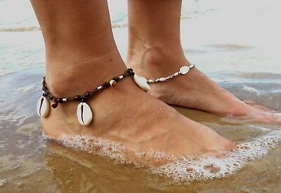 cowrie shell knotted anklet