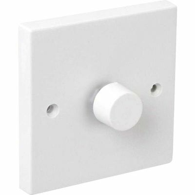 Moulded Single Rotary Dimmer Light Switch 250w 10 White Plastic Low Voltage LV