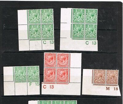 G.B. STAMPS: KGV; Controls selection mm.