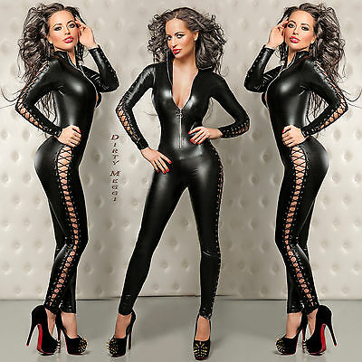 WETLOOK CATSUIT OVERALL CLUBWEAR GOGO Party Gr. XS S