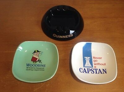 Ceramic Guinness, Woodbine & Capstan Cigarette Ashtrays. Excellent Condition.