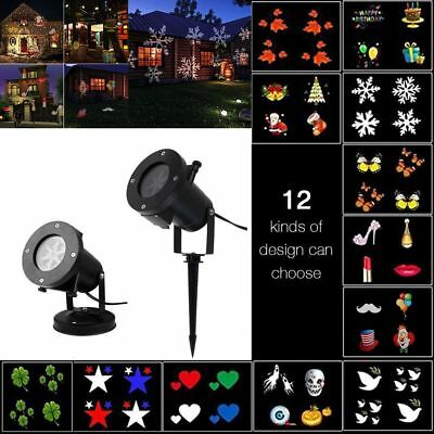 12Patterns LED Laser Landscape Projector Light Lamp Christmas Xmas Party Outdoor
