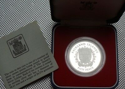 1977 Royal Mint Falkland Island Silver Jubilee Crown 925 Silver Cased & Coa