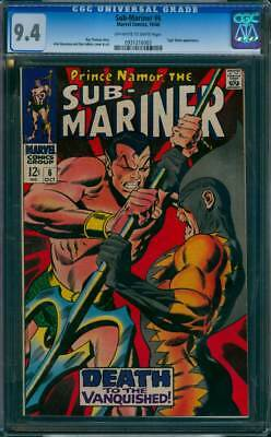 Sub-Mariner # 6  Death to the Vanquished !  CGC 9.4  scarce book !