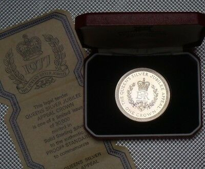 1977 Royal Mint Isle Of Man  Silver Jubilee Crown 925 Silver Cased & Coa
