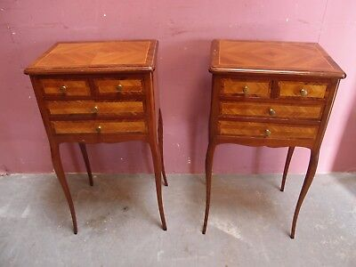 PAIR FABULOUS ANTIQUE FRENCH INLAID KINGW00D BEDSIDE CABINETS CHEST of DRAWERS