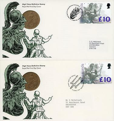GB 1993 £10 Britannia, Pair of Royal Mail FDC's with different cancels