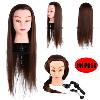 "26"" Hairdressing Training Head 30% Real Human Hair Mannequin Doll Clamp Brown uk"