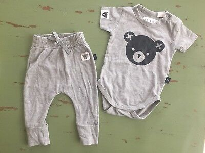 Huxbaby Pant And Short Sleeved Romper Size 3-6 Months