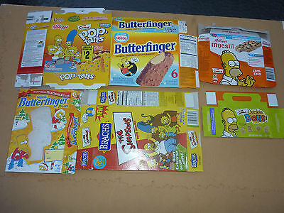 THE SIMPSONS EMPTY BISCUIT and CONFECTIONERY BOXES x 6 - All empty and collapsed