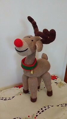 Hand Knitted Christmas RUDOLPH REINDEER - NEW