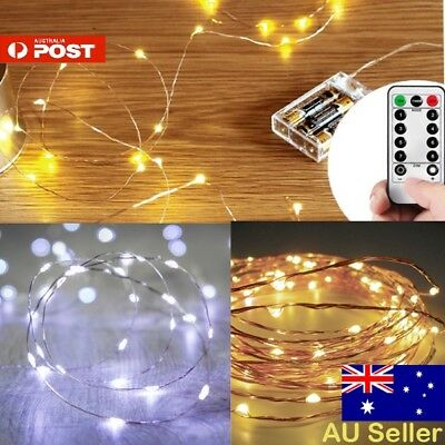 2-10M Battery Powered Wire Copper String Fairy Xmas Party Lights Warm White Aus