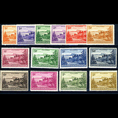 NORFOLK ISLAND 1947-59 Set of 14 Values. SG 1-12a. Lightly Hinged Mint. (BH114)