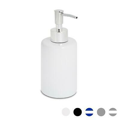 Glazed White Ceramic Bathroom Soap Pump Dispenser, 280ml